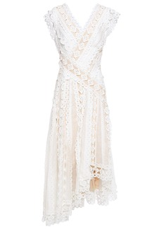 Zimmermann Woman Moncur Asymmetric Broderie Anglaise Cotton And Gauze Dress Ivory