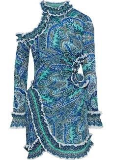 Zimmermann Woman Moncur Cutout Printed Plissé-organza Mini Dress Mint