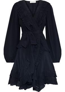Zimmermann Woman Moncur Frill Lace-trimmed Silk-gauze Mini Wrap Dress Midnight Blue