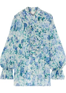 Zimmermann Woman Moncur Frill Ruffled Floral-print Silk-georgette Blouse Ivory