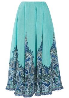 Zimmermann Woman Moncur Printed Plissé-organza Midi Skirt Turquoise
