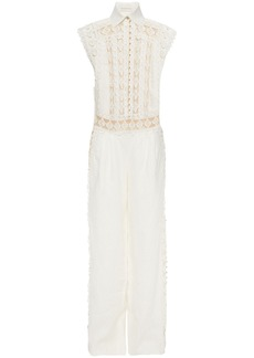Zimmermann Woman Moncur Studded Broderie Anglaise Cotton And Linen Wide-leg Jumpsuit Off-white