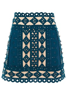 Zimmermann Woman Moncur Studded Broderie Anglaise Silk Crepe De Chine And Cotton-canvas Mini Skirt Teal