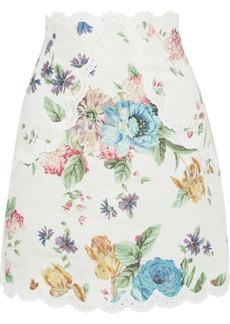 Zimmermann Woman Ninety-six Broderie Anglaise-trimmed Floral-print Linen Mini Skirt Cream