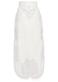 Zimmermann Woman Ninety-six Ric Rac Embellished Burnout Linen-canvas Midi Skirt White