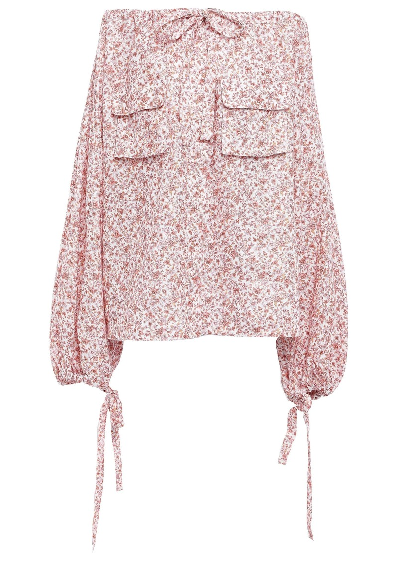 Zimmermann Woman Off-the-shoulder Floral-print Linen-gauze Top Antique Rose