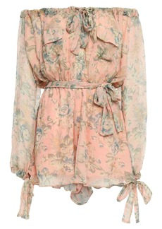 Zimmermann Woman Off-the-shoulder Floral-print Silk-georgette Playsuit Peach