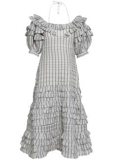 Zimmermann Woman Off-the-shoulder Linen And Silk-blend Midi Dress Ivory