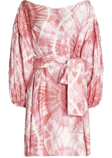 Zimmermann Woman Off-the-shoulder Tie-dyed Faille Mini Dress Pink