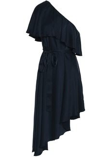 Zimmermann Woman One-shoulder Ruffled Washed-silk Dress Navy