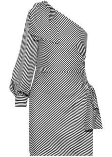 Zimmermann Woman One-shoulder Striped Jacquard Mini Dress Midnight Blue