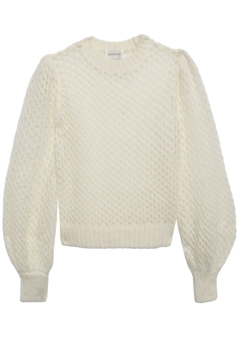Zimmermann Woman Open-knit Mohair-blend Sweater Ivory