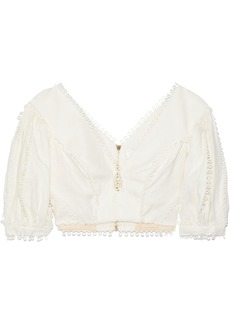 Zimmermann Woman Painted Heart Cropped Crochet-trimmed Linen Top Cream