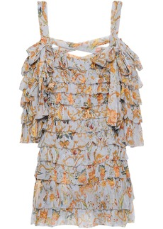 Zimmermann Woman Painted Heart Ra Ra Cold-shoulder Tiered Printed Silk-georgette Mini Dress Light Blue