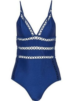 Zimmermann Woman Paradiso Lattice-trimmed Swimsuit Royal Blue