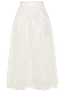 Zimmermann Woman Pleated Broderie Anglaise-trimmed Linen And Silk-blend Midi Skirt Ivory