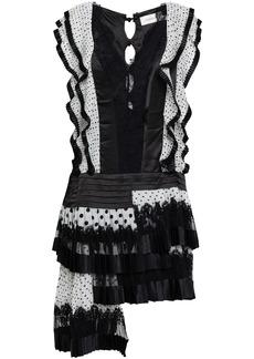 Zimmermann Woman Pleated Polka-dot Silk Organza Satin And Lace Mini Dress Black