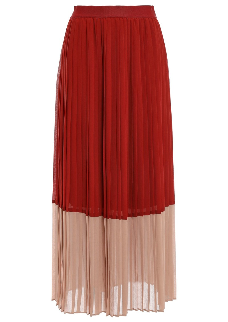 Zimmermann Woman Pleated Two-tone Crepe De Chine Midi Skirt Brick