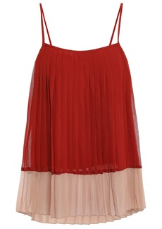 Zimmermann Woman Pleated Two-tone Crepe De Chine Top Brick