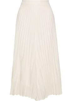 Zimmermann Woman Pleated Washed-crepe Culottes Ivory