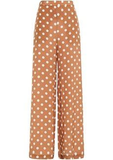 Zimmermann Woman Polka-dot Silk Crepe De Chine Wide-leg Pants Tan