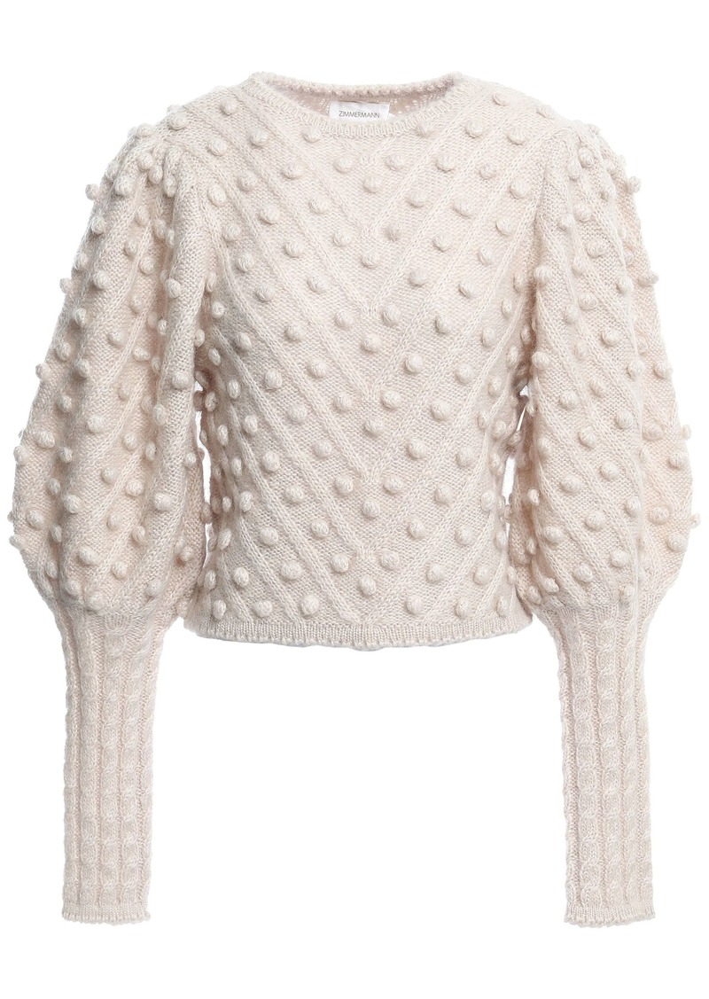 Zimmermann Woman Pompom-embellished Knitted Sweater Cream