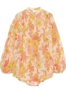 Zimmermann Woman Primrose Crinkle Floral-print Cotton And Silk-blend Blouse Marigold