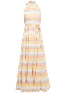 Zimmermann Woman Primrose Striped Crinkled-cotton Halterneck Maxi Dress Pastel Orange