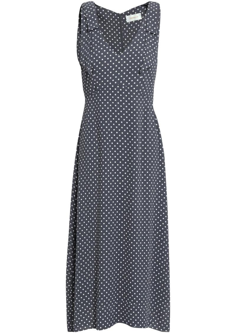 Zimmermann Woman Printed Cady Midi Dress Charcoal