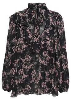 Zimmermann Woman Pussy-bow Floral-print Georgette Blouse Black