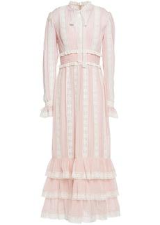 Zimmermann Woman Pussy-bow Lace-trimmed Chiffon Maxi Dress Pastel Pink