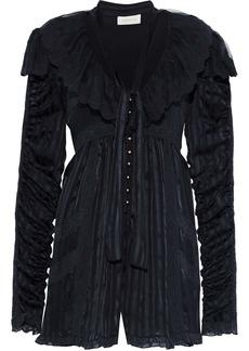 Zimmermann Woman Tempest Lace-trimmed Silk-jacquard Playsuit Navy