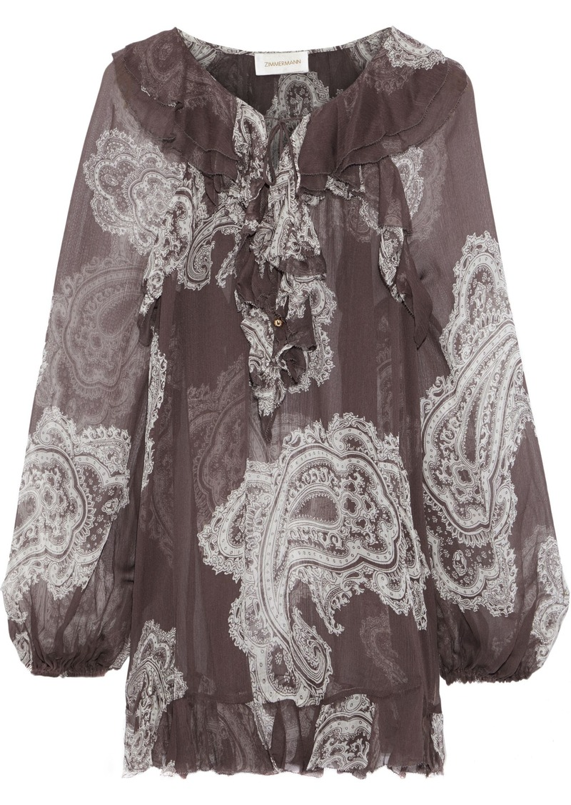 Zimmermann Woman Radiate Frill Printed Silk-georgette Blouse Dark Gray