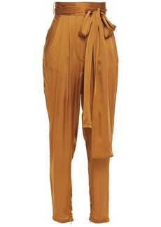 Zimmermann Woman Resistance Belted Silk Tapered Pants Light Brown