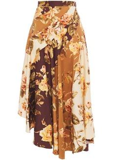 Zimmermann Woman Resistance Spliced Asymmetric Floral-print Stretch-silk Twill Midi Skirt Light Brown