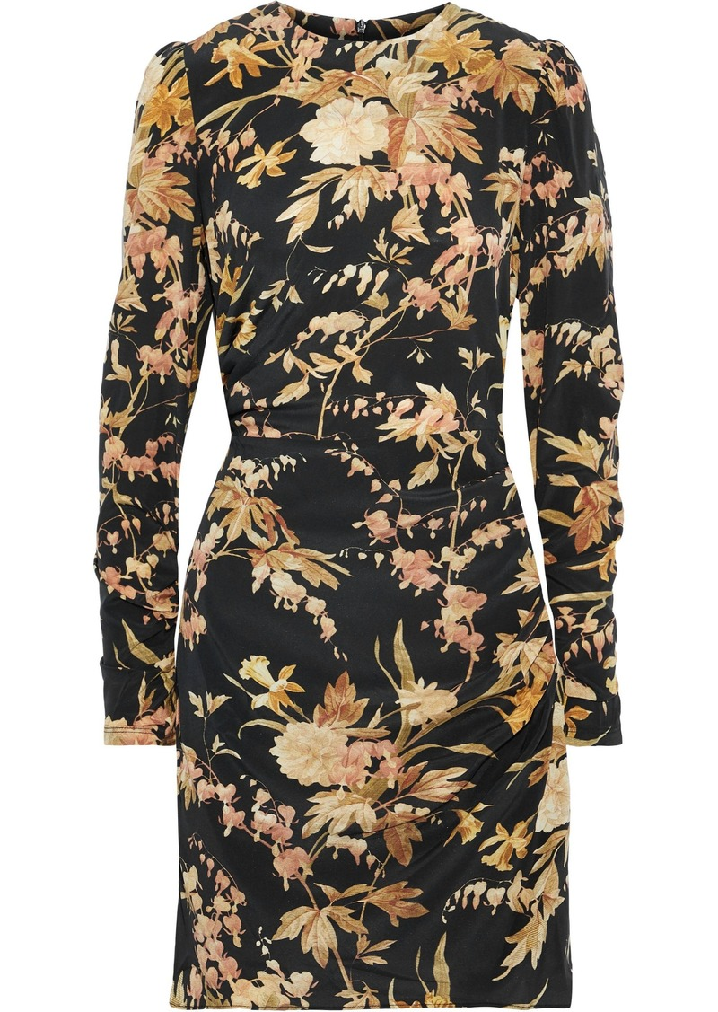 Zimmermann Woman Ruched Floral-print Stretch-silk Mini Dress Black