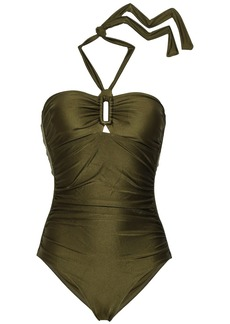 Zimmermann Woman Ruched Halterneck Swimsuit Army Green