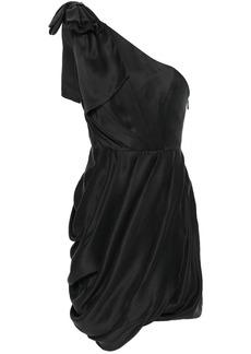 Zimmermann Woman Ruched One-shoulder Washed-silk Mini Dress Black