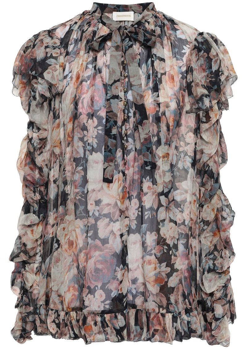 Zimmermann Woman Pussy-bow Ruched Floral-print Silk-georgette Blouse Pastel Pink