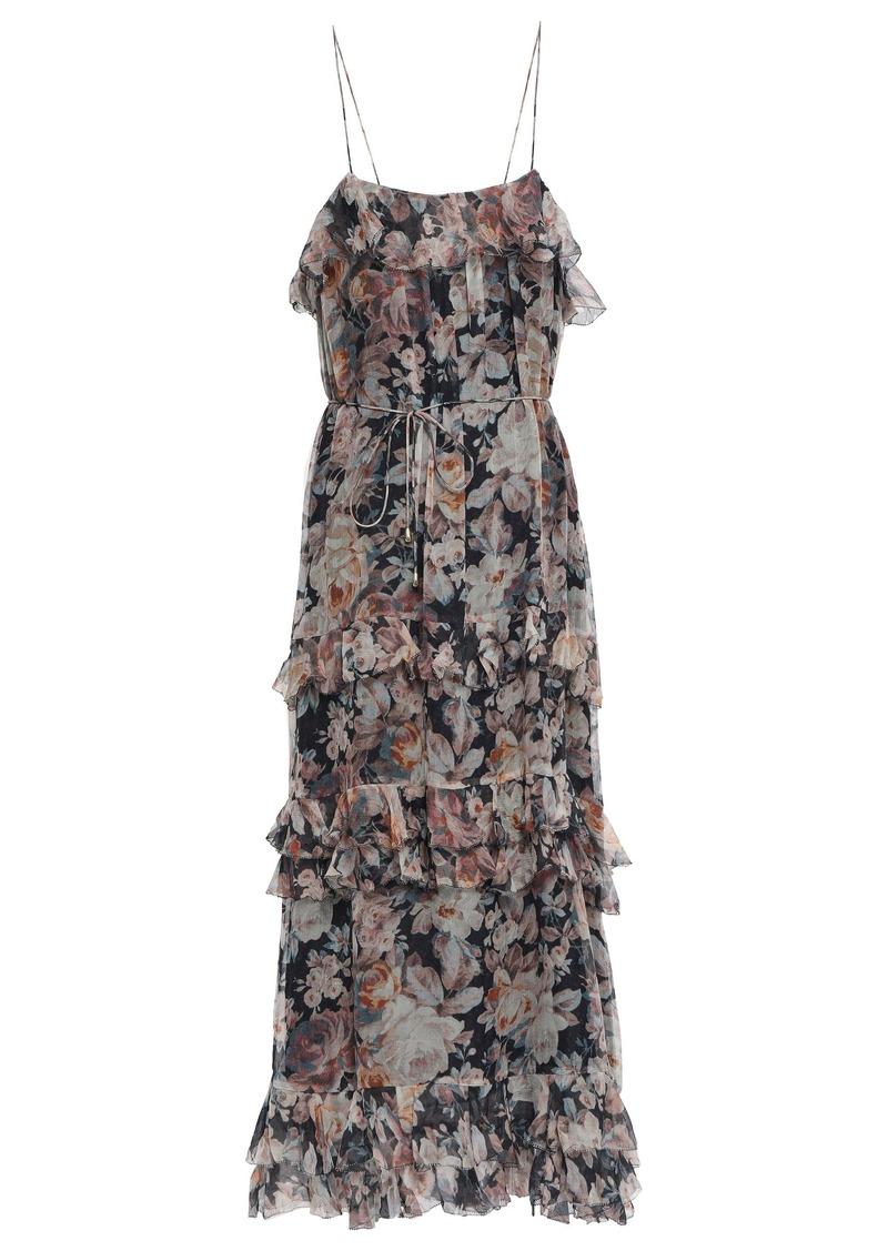 Zimmermann Woman Floral-print Silk-georgette Midi Dress Pastel Pink