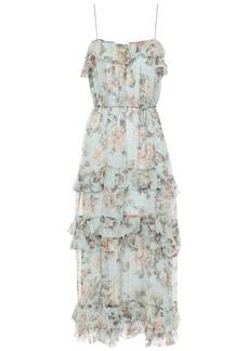 Zimmermann Woman Tiered Floral-print Silk-georgette Midi Dress Sky Blue