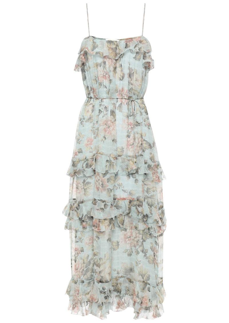 Zimmermann Woman Floral-print Silk-georgette Midi Dress Sky Blue