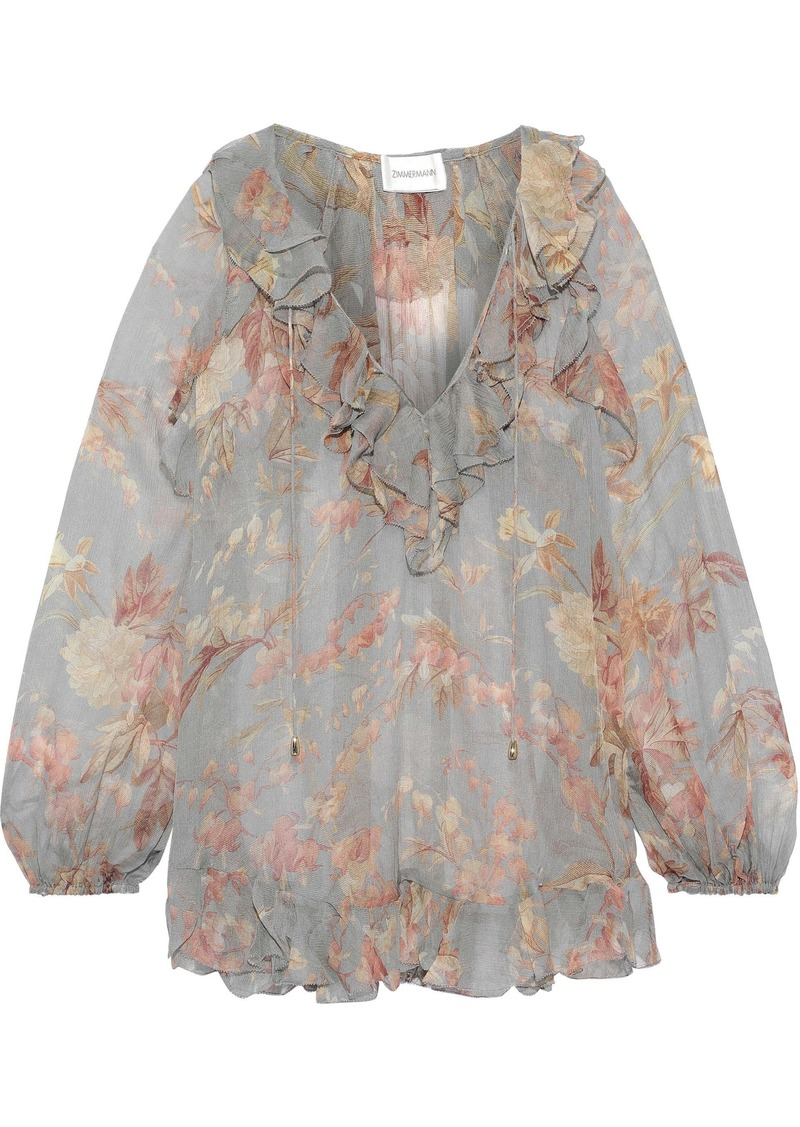 Zimmermann Woman Ruffle-trimmed Printed Silk-georgette Blouse Multicolor