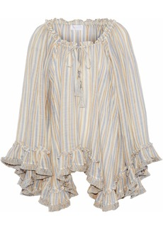 Zimmermann Woman Ruffle-trimmed Striped Linen And Cotton-blend Gauze Top Multicolor