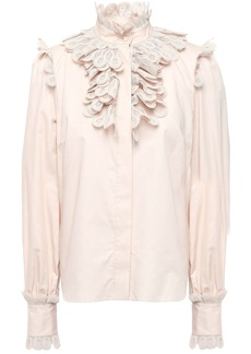 Zimmermann Woman Ruffled Crochet-trimmed Cotton-poplin Blouse Blush