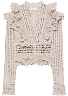 Zimmermann Woman Ruffled Crocheted Ramie-blend Blouse Cream