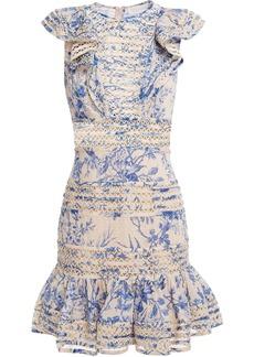 Zimmermann Woman Ruffled Fil Coupé Floral-print Cotton-gauze Mini Dress Light Blue