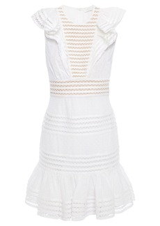 Zimmermann Woman Ruffled Fil Coupé Floral-print Cotton-gauze Mini Dress White