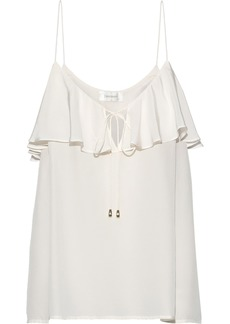 Zimmermann Woman Ruffled Printed Silk Crepe De Chine Camisole Ivory