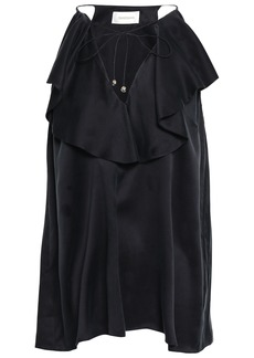 Zimmermann Woman Ruffled Silk-charmeuse Top Charcoal